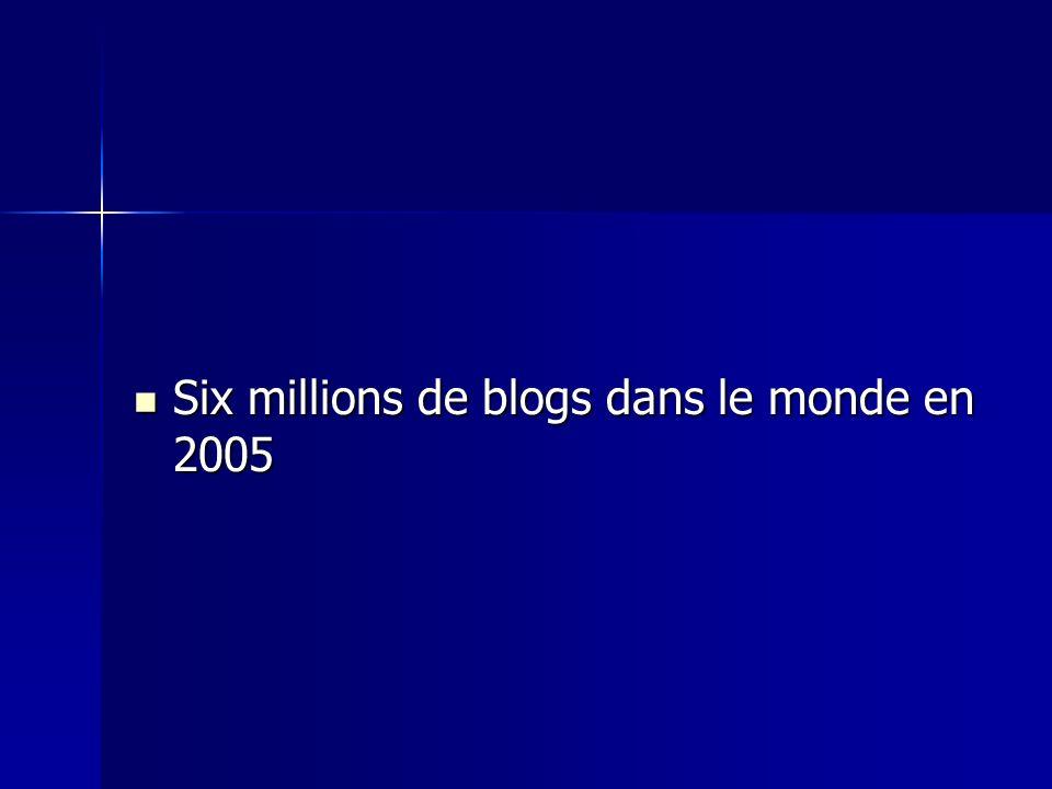 Six millions de blogs dans le monde en 2005 Six millions de blogs dans le monde en 2005
