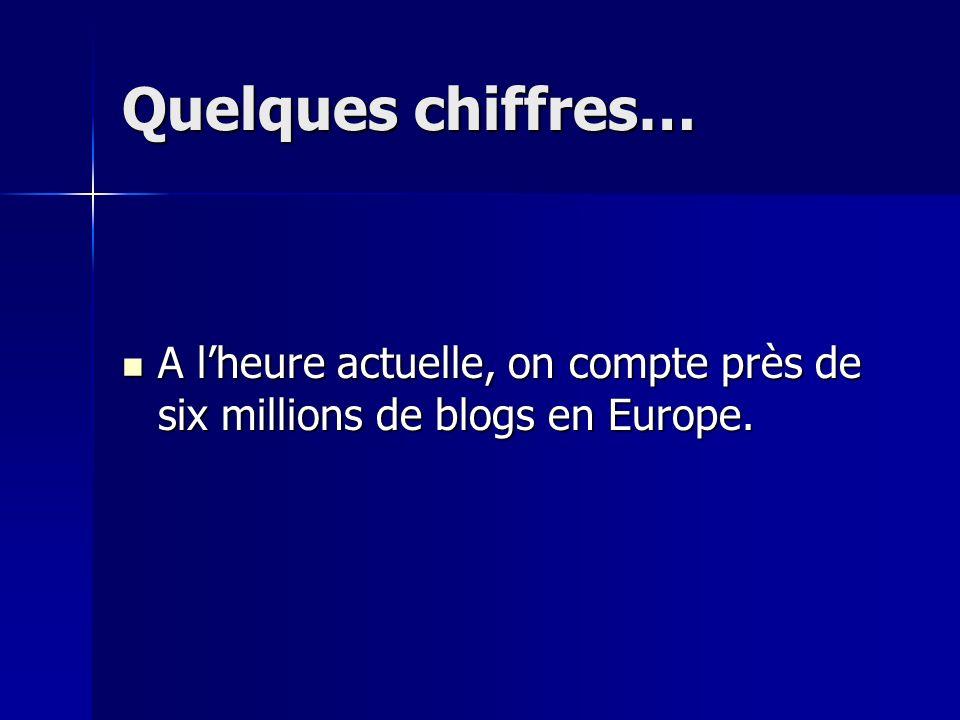Quelques chiffres… A lheure actuelle, on compte près de six millions de blogs en Europe.