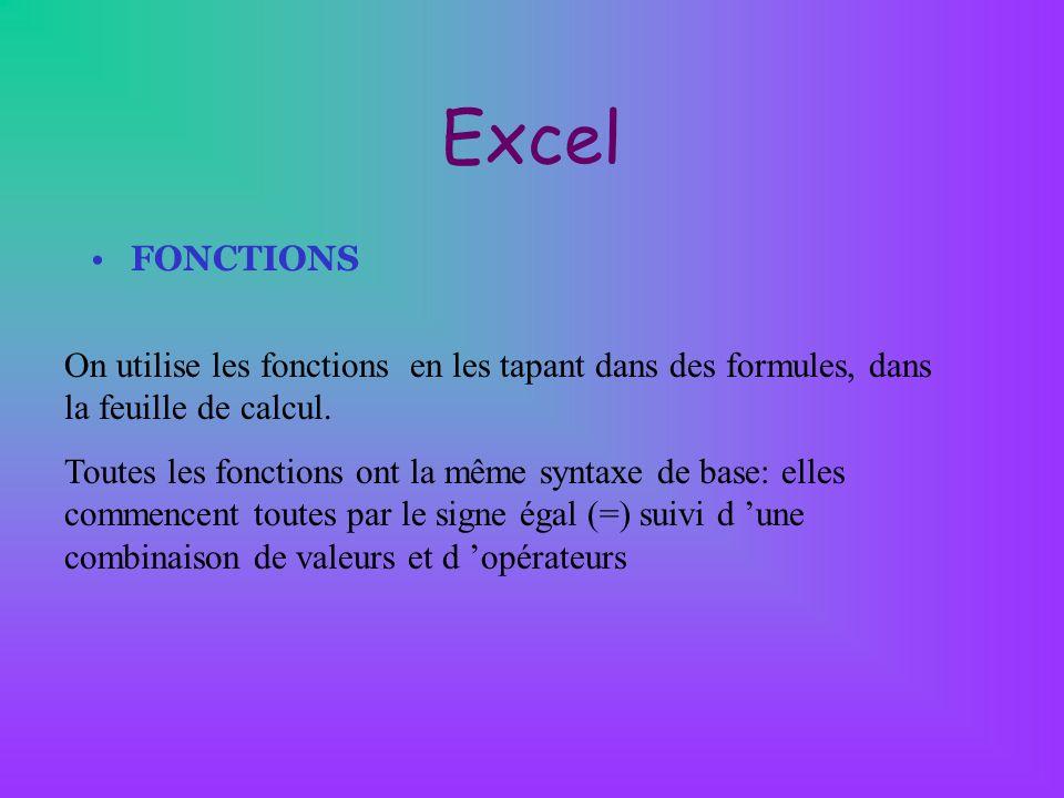Excel FONCTIONS On utilise les fonctions en les tapant dans des formules, dans la feuille de calcul. Toutes les fonctions ont la même syntaxe de base:
