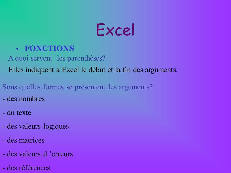Excel FONCTIONS A quoi servent les parenthèses? Elles indiquent à Excel le début et la fin des arguments. Sous quelles formes se présentent les argume