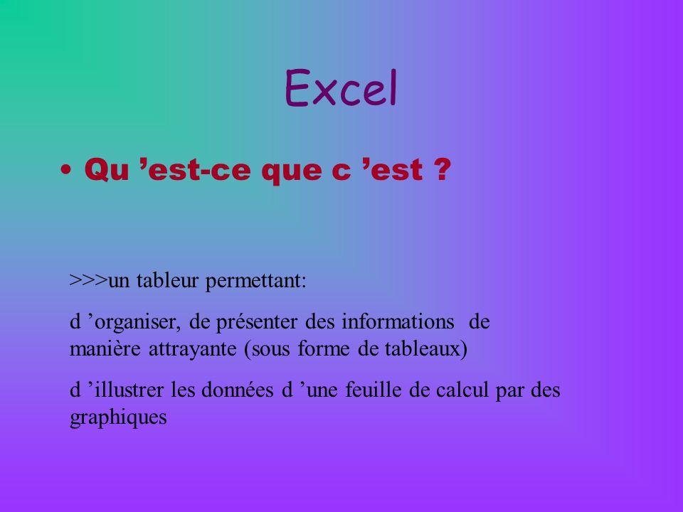 Excel Qu est-ce que c est ? >>>un tableur permettant: d organiser, de présenter des informations de manière attrayante (sous forme de tableaux) d illu