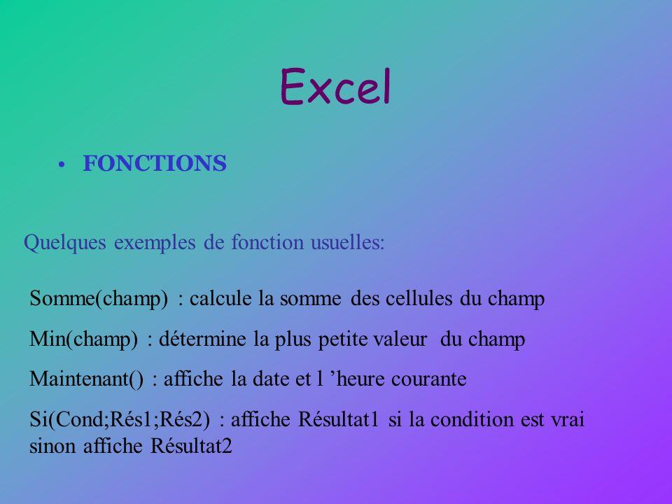 Excel FONCTIONS Quelques exemples de fonction usuelles: Somme(champ) : calcule la somme des cellules du champ Min(champ) : détermine la plus petite va