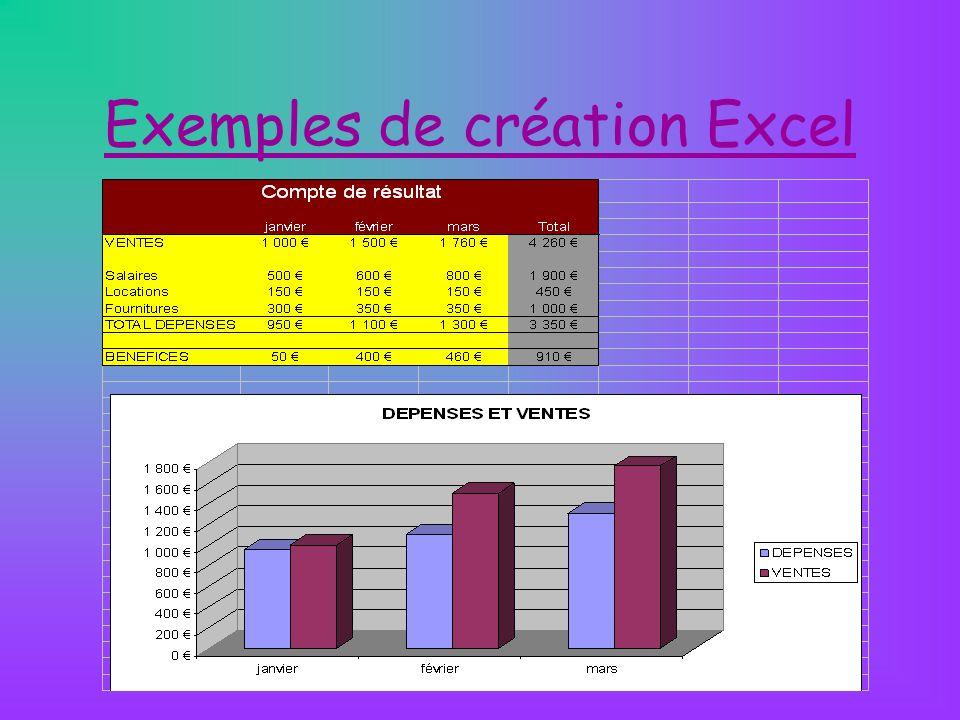 Exemples de création Excel
