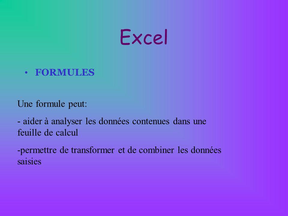 Excel FORMULES Une formule peut: - aider à analyser les données contenues dans une feuille de calcul -permettre de transformer et de combiner les donn