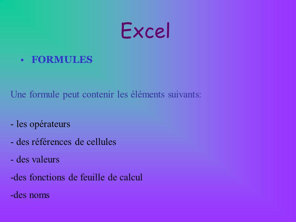 Excel FORMULES Une formule peut contenir les éléments suivants: - les opérateurs - des références de cellules - des valeurs -des fonctions de feuille