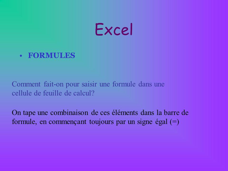 Excel FONCTIONS Quelques exemples de fonction usuelles: Somme(champ) : calcule la somme des cellules du champ Min(champ) : détermine la plus petite valeur du champ Maintenant() : affiche la date et l heure courante Si(Cond;Rés1;Rés2) : affiche Résultat1 si la condition est vrai sinon affiche Résultat2