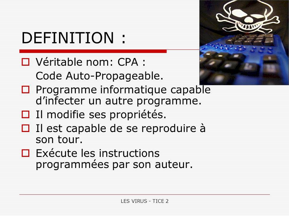 LES VIRUS - TICE 2 DEFINITION : Véritable nom: CPA : Code Auto-Propageable.