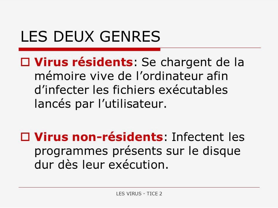 LES VIRUS - TICE 2 LES DEUX GENRES Virus résidents: Se chargent de la mémoire vive de lordinateur afin dinfecter les fichiers exécutables lancés par lutilisateur.