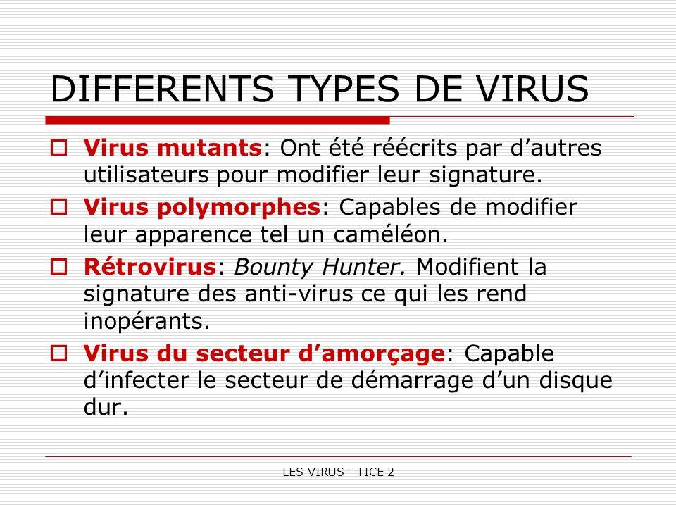 LES VIRUS - TICE 2 DIFFERENTS TYPES DE VIRUS Virus mutants: Ont été réécrits par dautres utilisateurs pour modifier leur signature.