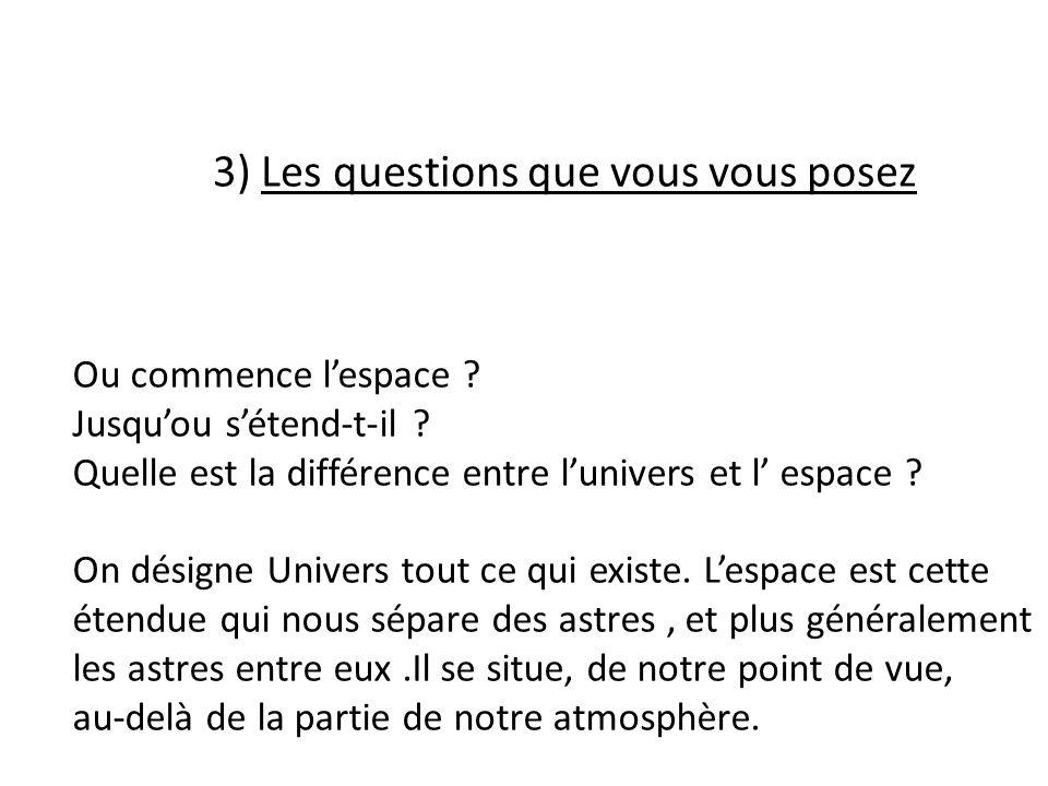 3) Les questions que vous vous posez Ou commence lespace .