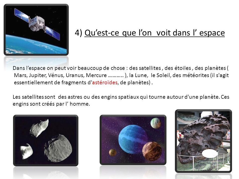 4) Quest-ce que lon voit dans l espace Dans lespace on peut voir beaucoup de chose : des satellites, des étoiles, des planètes ( Mars, Jupiter, Vénus, Uranus, Mercure ………..