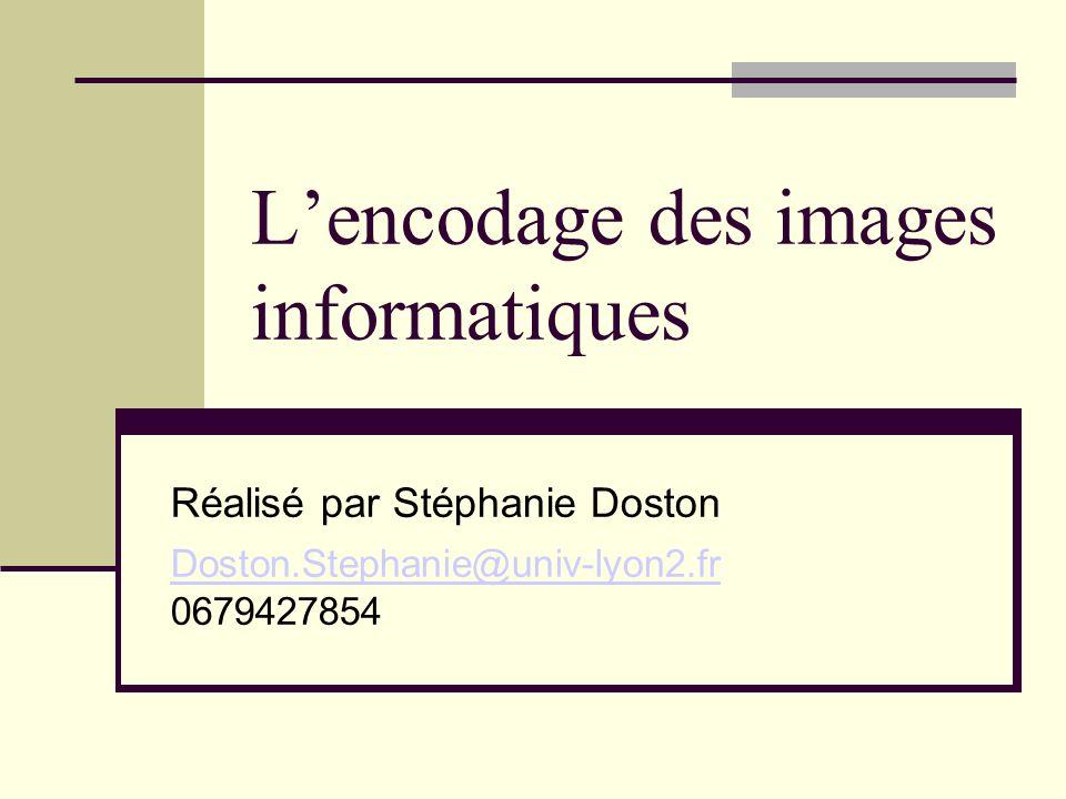 Lencodage des images informatiques Réalisé par Stéphanie Doston Doston.Stephanie@univ-lyon2.fr Doston.Stephanie@univ-lyon2.fr 0679427854