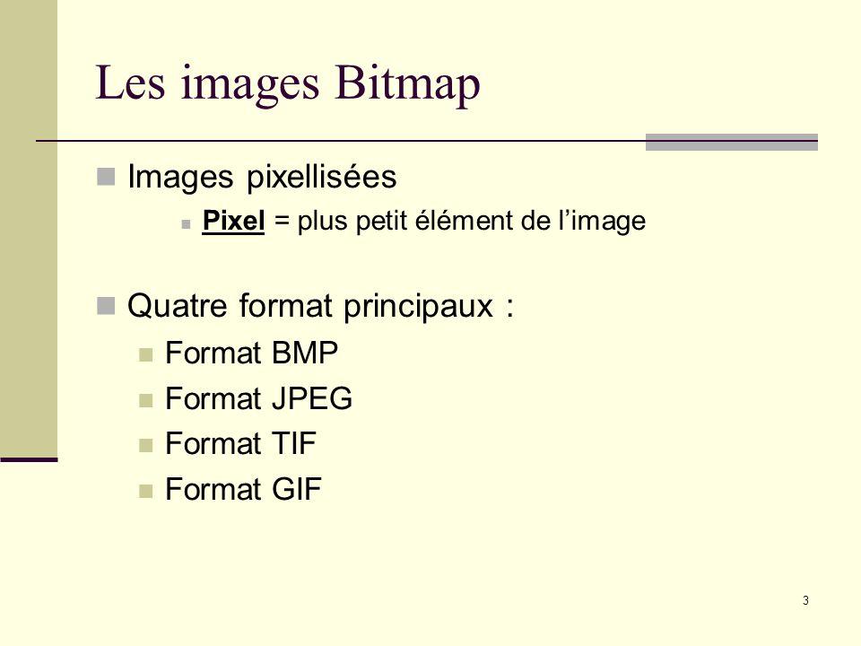 3 Les images Bitmap Images pixellisées Pixel = plus petit élément de limage Quatre format principaux : Format BMP Format JPEG Format TIF Format GIF