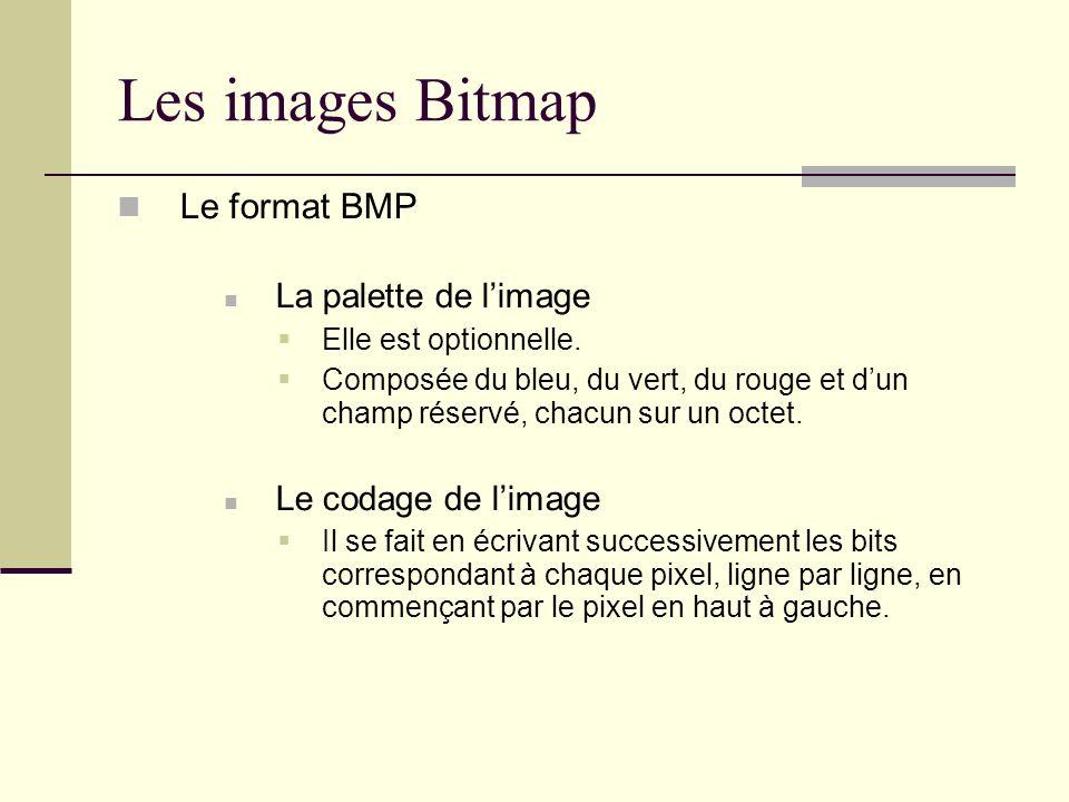 Les images Bitmap Le format BMP La palette de limage Elle est optionnelle. Composée du bleu, du vert, du rouge et dun champ réservé, chacun sur un oct