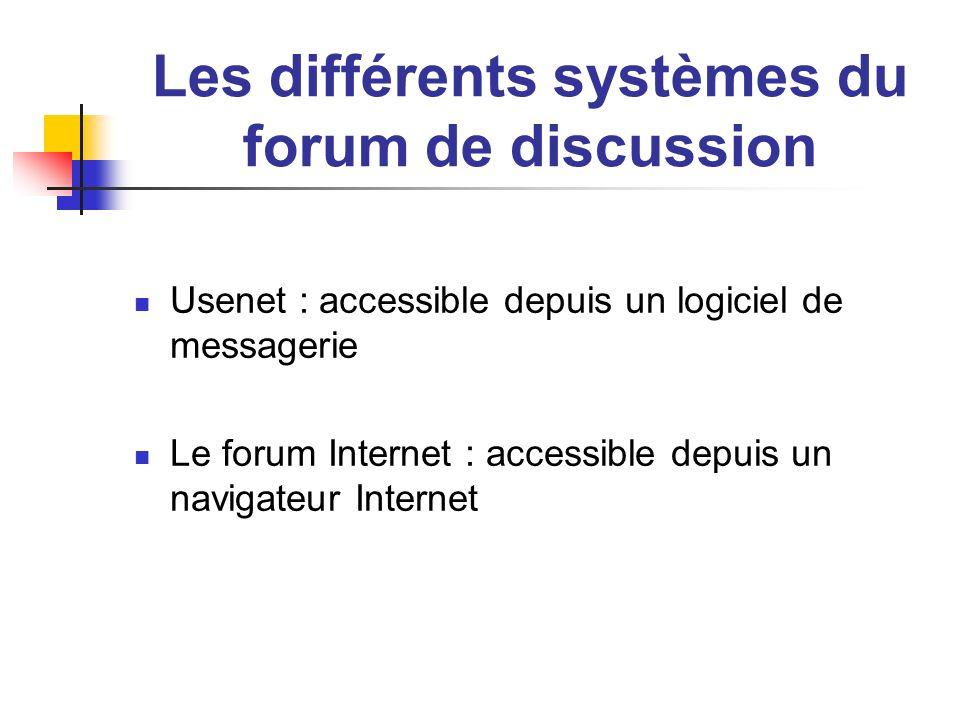 Les différents systèmes du forum de discussion Usenet : accessible depuis un logiciel de messagerie Le forum Internet : accessible depuis un navigateu