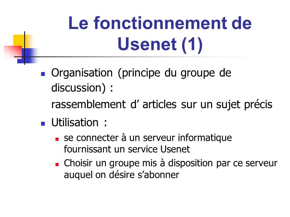 Le fonctionnement de Usenet (1) Organisation (principe du groupe de discussion) : rassemblement d articles sur un sujet précis Utilisation : se connec