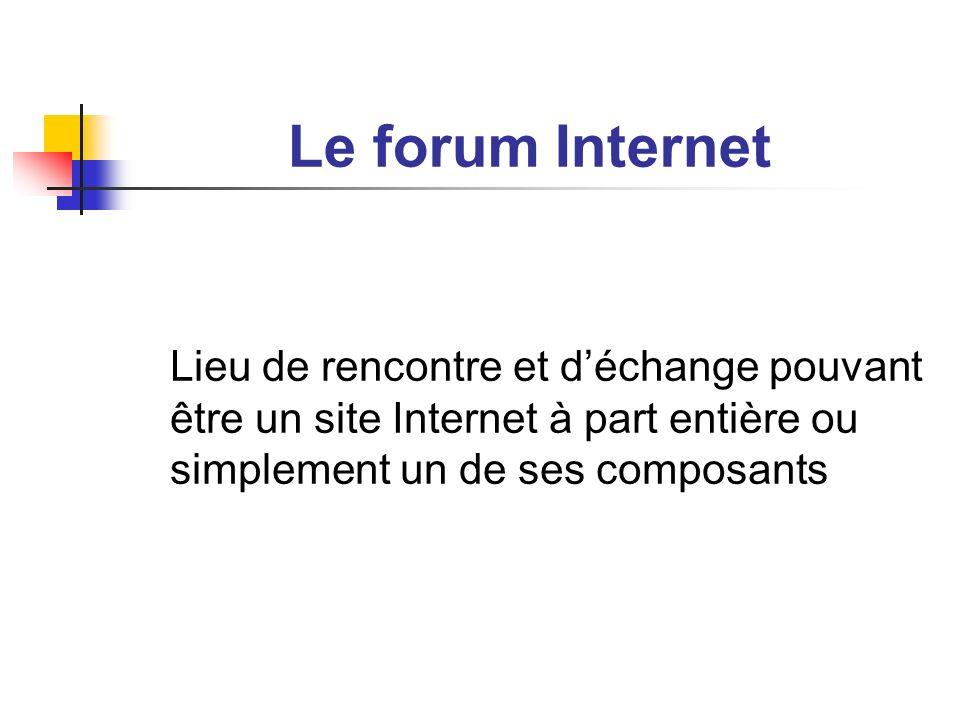 Le forum Internet Lieu de rencontre et déchange pouvant être un site Internet à part entière ou simplement un de ses composants