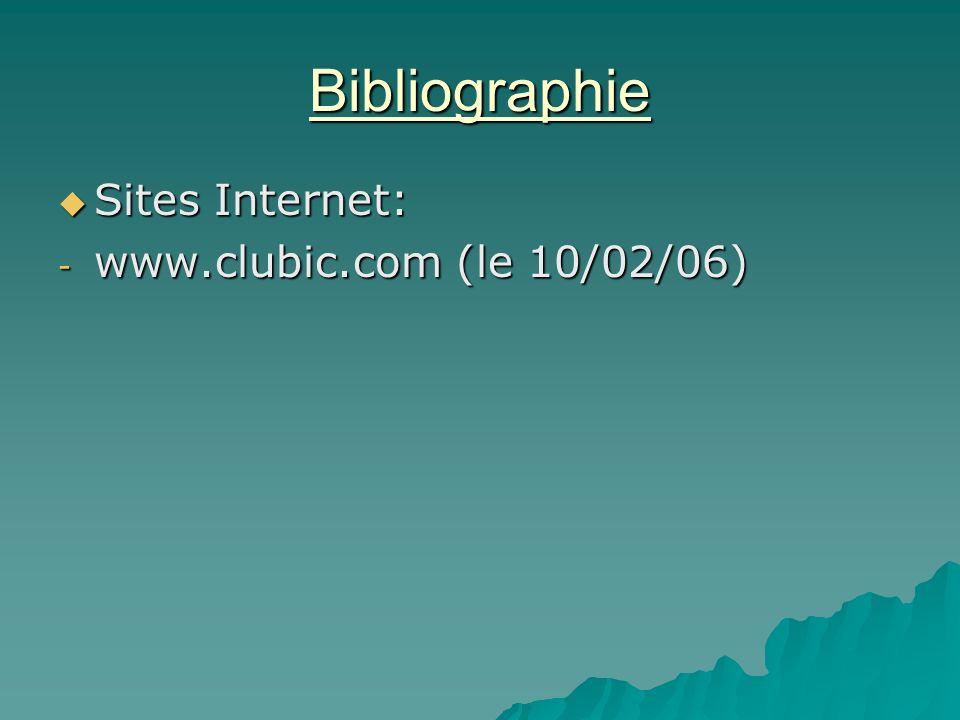 Bibliographie Sites Internet: Sites Internet: - www.clubic.com (le 10/02/06)