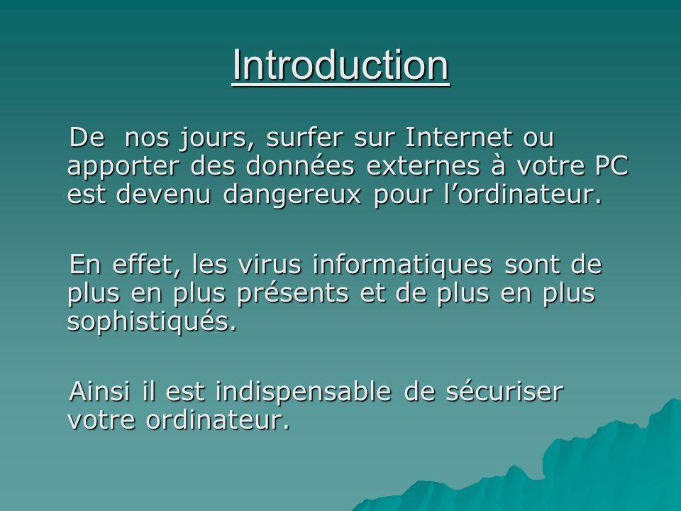 Introduction De nos jours, surfer sur Internet ou apporter des données externes à votre PC est devenu dangereux pour lordinateur. De nos jours, surfer