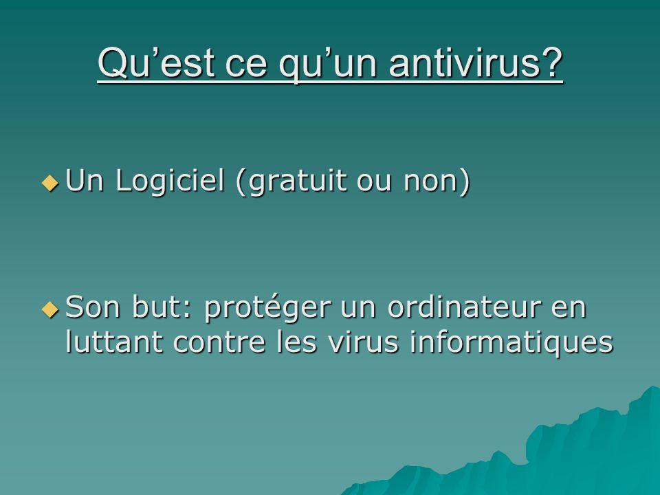 Quest ce quun antivirus? Un Logiciel (gratuit ou non) Un Logiciel (gratuit ou non) Son but: protéger un ordinateur en luttant contre les virus informa