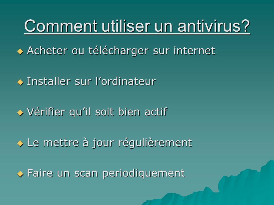 Comment utiliser un antivirus? Acheter ou télécharger sur internet Acheter ou télécharger sur internet Installer sur lordinateur Installer sur lordina