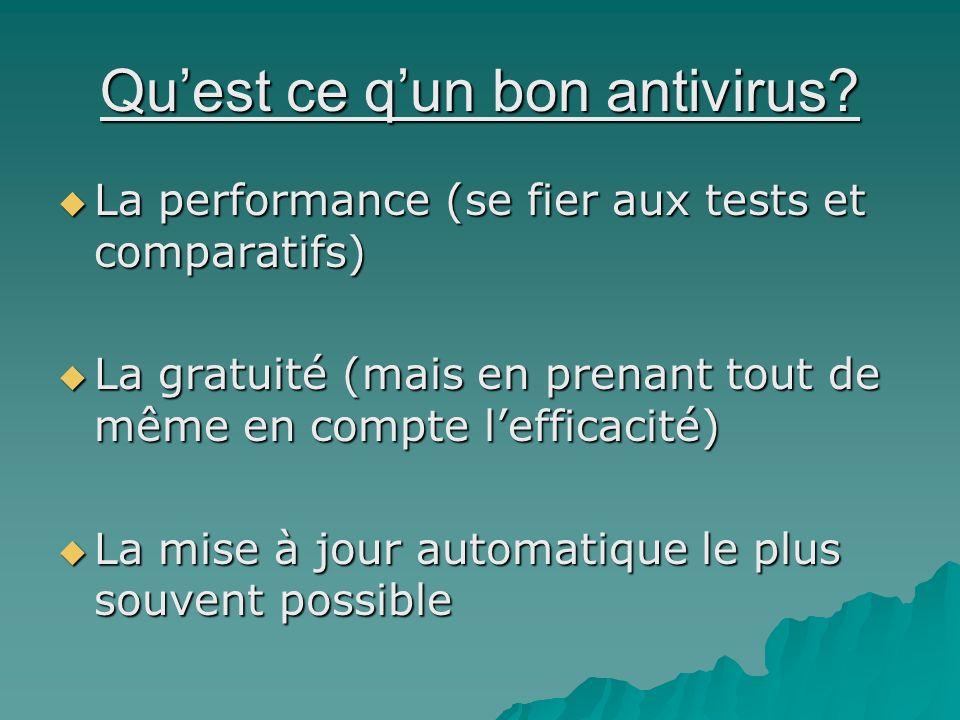 Quest ce qun bon antivirus? La performance (se fier aux tests et comparatifs) La performance (se fier aux tests et comparatifs) La gratuité (mais en p