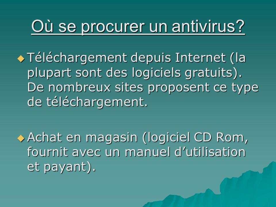 Où se procurer un antivirus? Téléchargement depuis Internet (la plupart sont des logiciels gratuits). De nombreux sites proposent ce type de télécharg