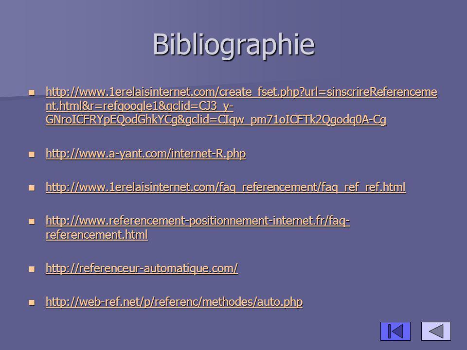 Bibliographie http://www.1erelaisinternet.com/create_fset.php?url=sinscrireReferenceme nt.html&r=refgoogle1&gclid=CJ3_y- GNroICFRYpEQodGhkYCg&gclid=CI