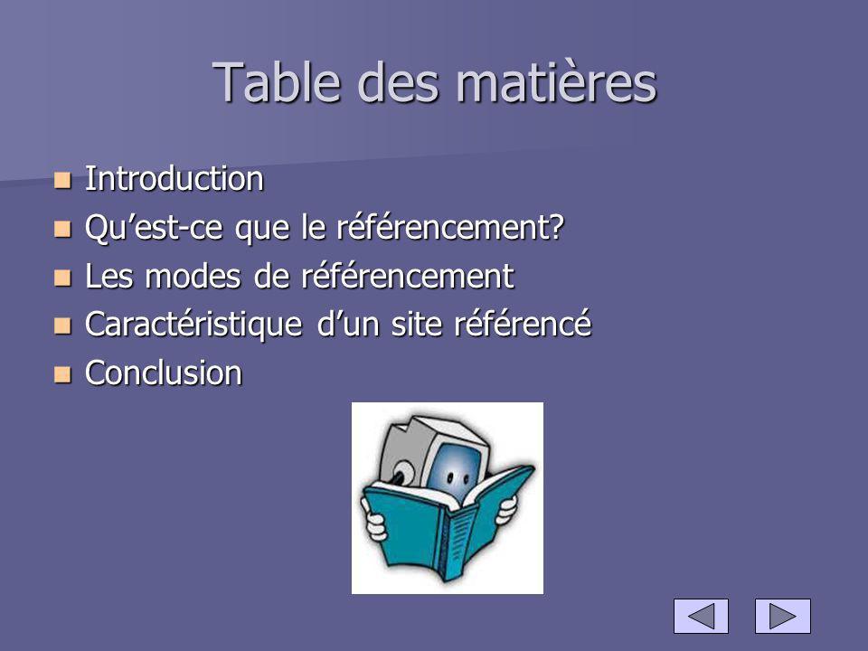 Table des matières Introduction Introduction Quest-ce que le référencement? Quest-ce que le référencement? Les modes de référencement Les modes de réf