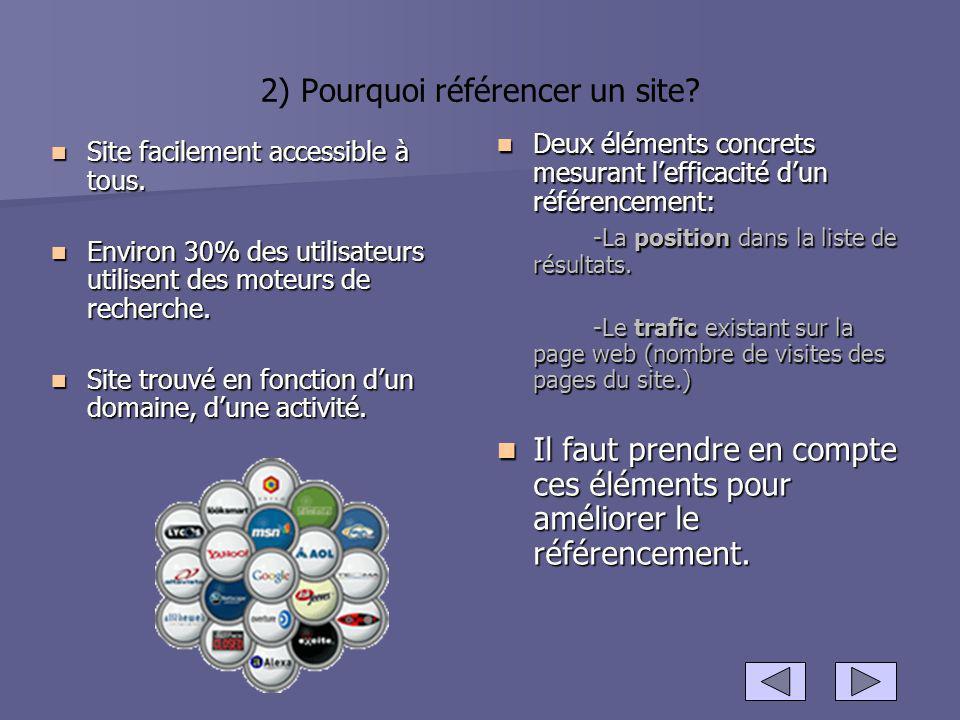 2) Pourquoi référencer un site? Site facilement accessible à tous. Site facilement accessible à tous. Environ 30% des utilisateurs utilisent des moteu