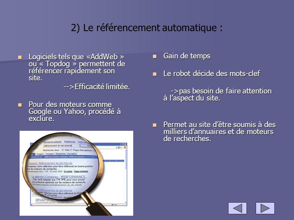 2) Le référencement automatique : Logiciels tels que «AddWeb » ou « Topdog » permettent de référencer rapidement son site. Logiciels tels que «AddWeb