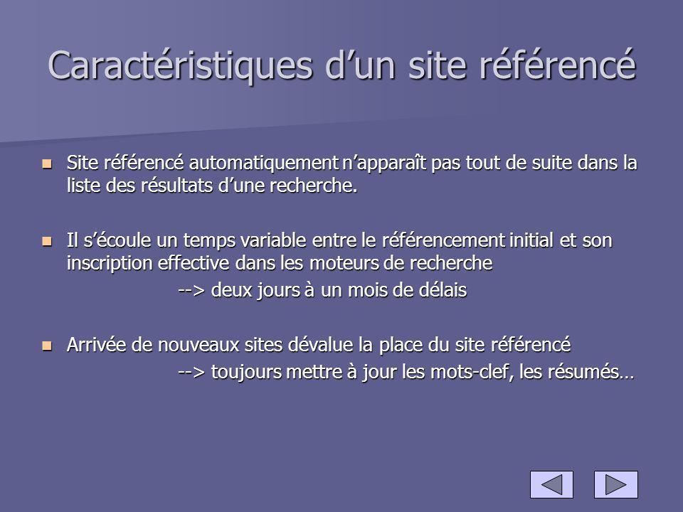 Caractéristiques dun site référencé Site référencé automatiquement napparaît pas tout de suite dans la liste des résultats dune recherche. Site référe