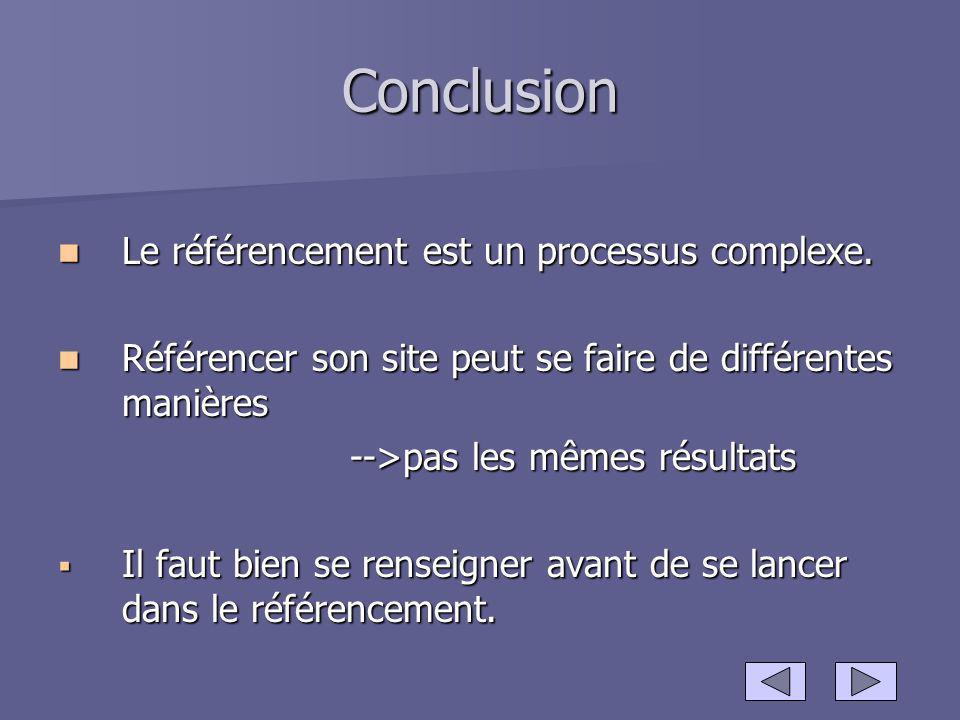 Conclusion Le référencement est un processus complexe. Le référencement est un processus complexe. Référencer son site peut se faire de différentes ma