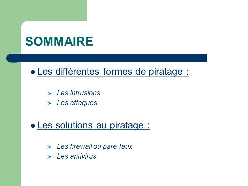 SOMMAIRE Les différentes formes de piratage : Les intrusions Les attaques Les solutions au piratage : Les firewall ou pare-feux Les antivirus