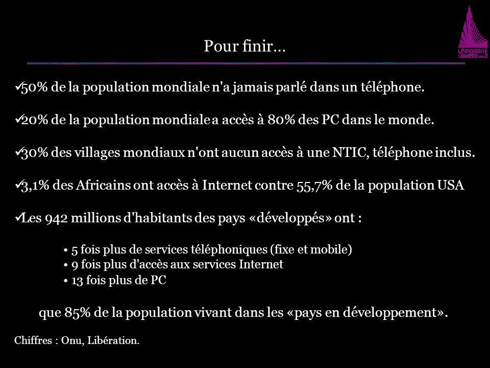 50% de la population mondiale n'a jamais parlé dans un téléphone. 20% de la population mondiale a accès à 80% des PC dans le monde. 30% des villages m
