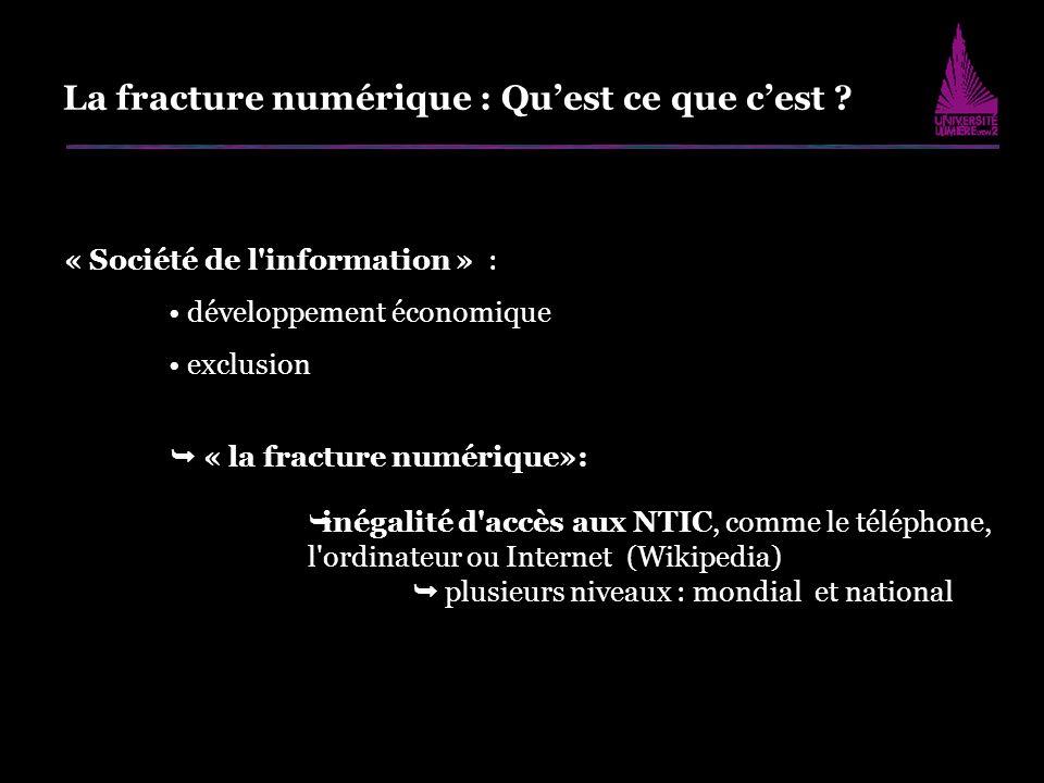 La fracture numérique : Quest ce que cest ? « Société de l'information » : développement économique exclusion « la fracture numérique»: inégalité d'ac