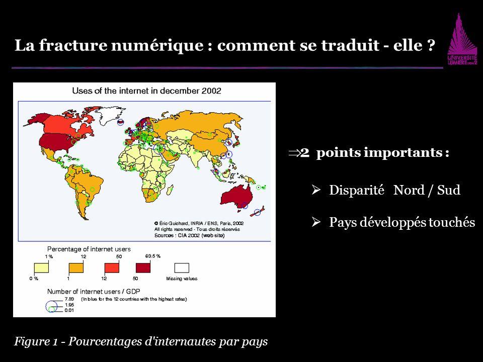 La fracture numérique : comment se traduit - elle ? Disparité Nord / Sud Pays développés touchés 2 points importants : Figure 1 - Pourcentages d'inter