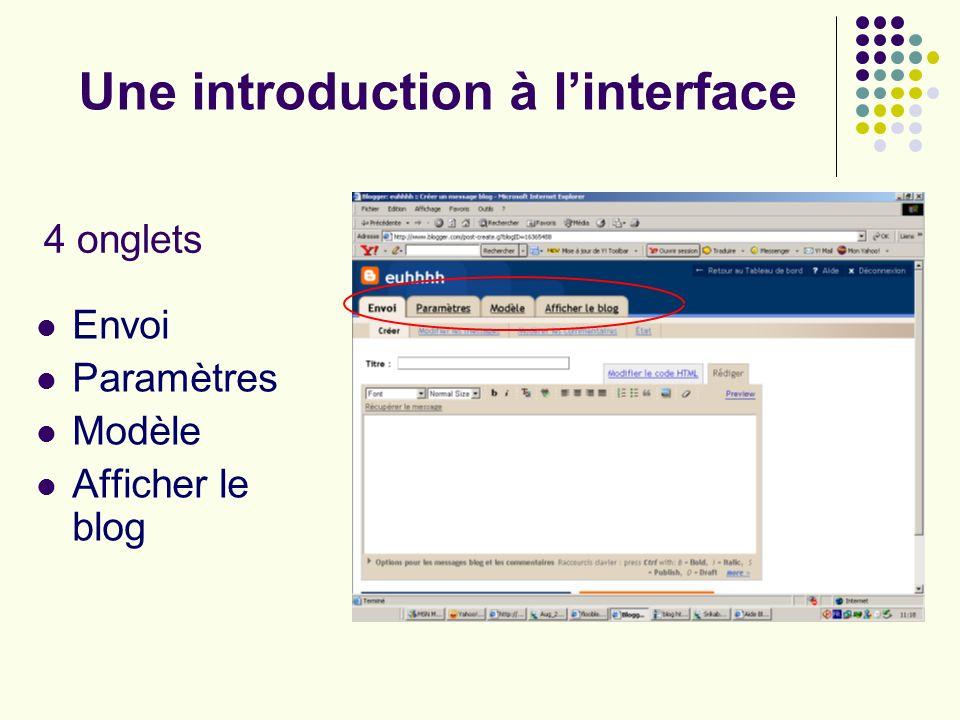 Une introduction à linterface Envoi Paramètres Modèle Afficher le blog 4 onglets