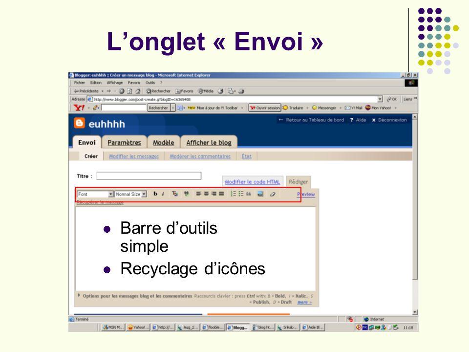 Longlet « Envoi » Barre doutils simple Recyclage dicônes