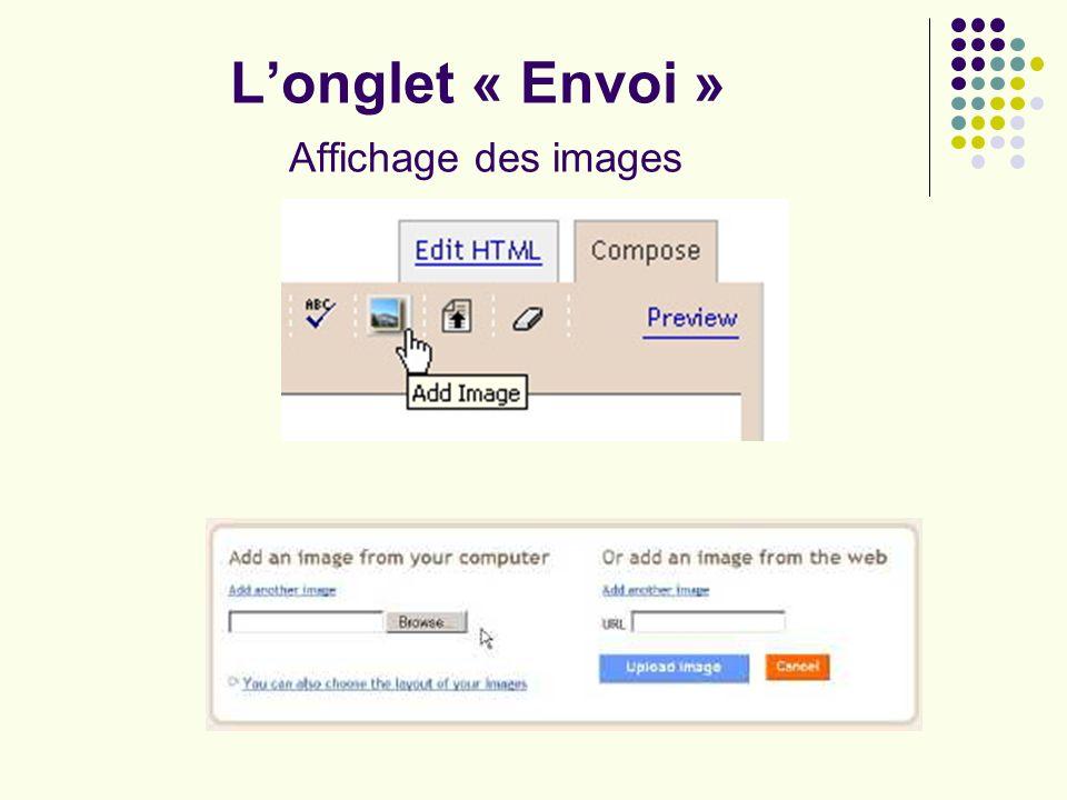 Longlet « Envoi » Affichage des images