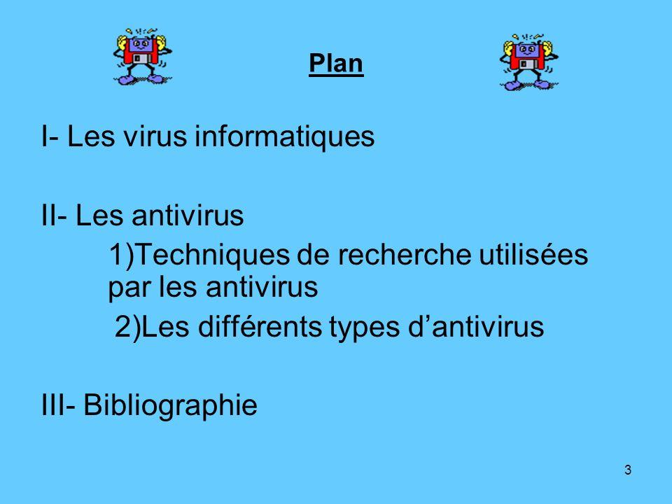 3 Plan I- Les virus informatiques II- Les antivirus 1)Techniques de recherche utilisées par les antivirus 2)Les différents types dantivirus III- Bibli