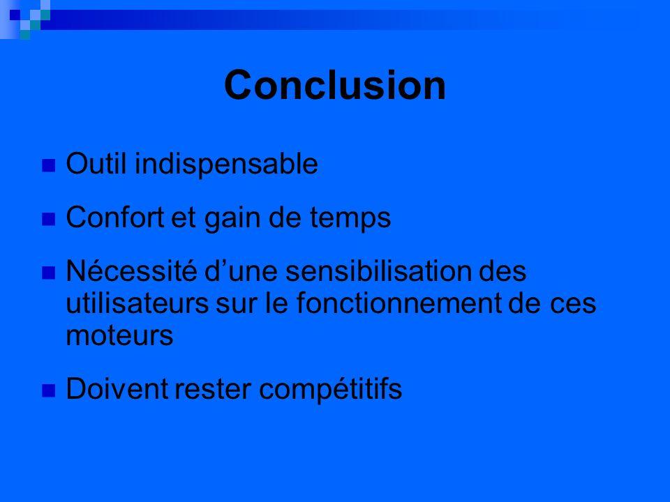 Conclusion Outil indispensable Confort et gain de temps Nécessité dune sensibilisation des utilisateurs sur le fonctionnement de ces moteurs Doivent rester compétitifs