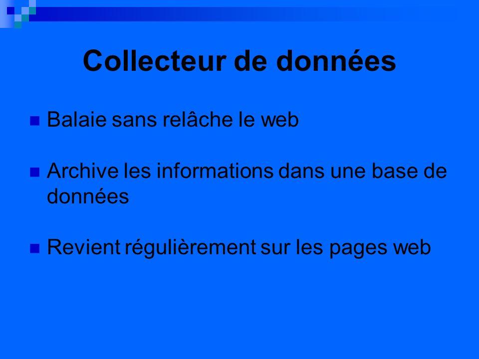 Collecteur de données Balaie sans relâche le web Archive les informations dans une base de données Revient régulièrement sur les pages web