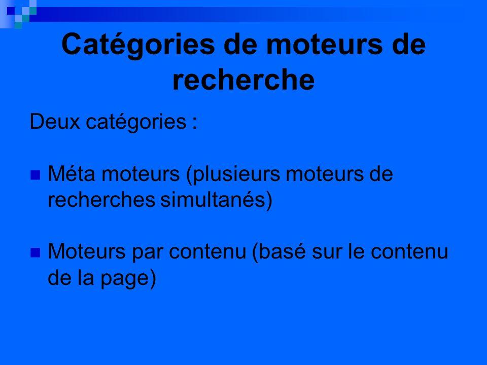 Catégories de moteurs de recherche Deux catégories : Méta moteurs (plusieurs moteurs de recherches simultanés) Moteurs par contenu (basé sur le contenu de la page)