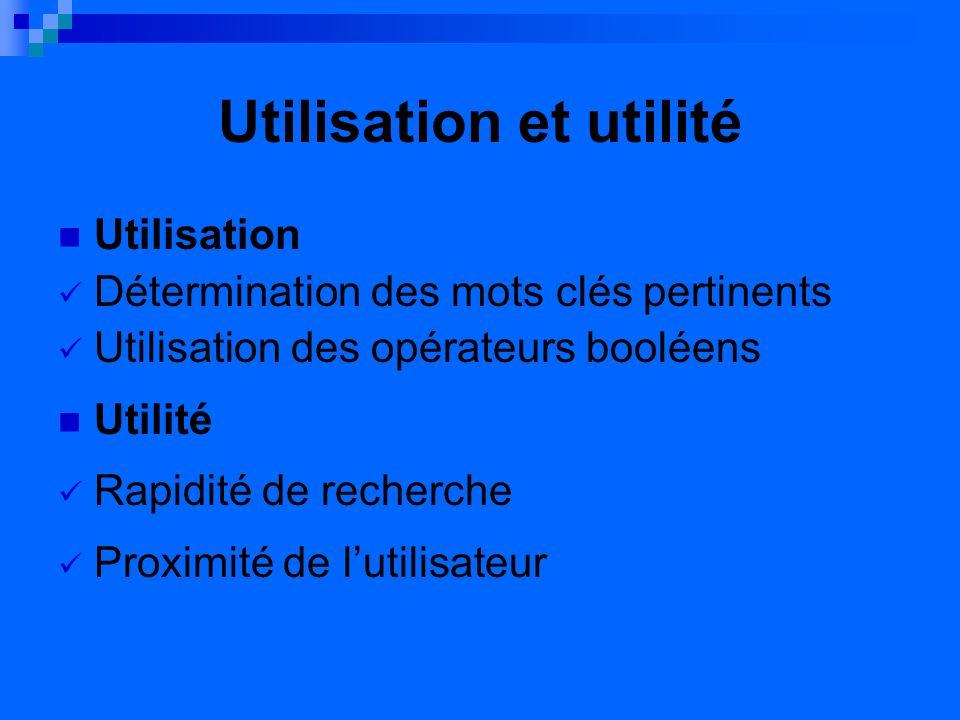 Utilisation et utilité Utilisation Détermination des mots clés pertinents Utilisation des opérateurs booléens Utilité Rapidité de recherche Proximité de lutilisateur