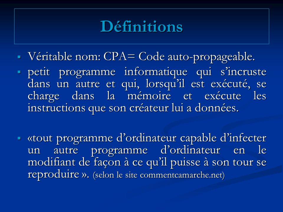 Définitions Véritable nom: CPA= Code auto-propageable. Véritable nom: CPA= Code auto-propageable. petit programme informatique qui sincruste dans un a
