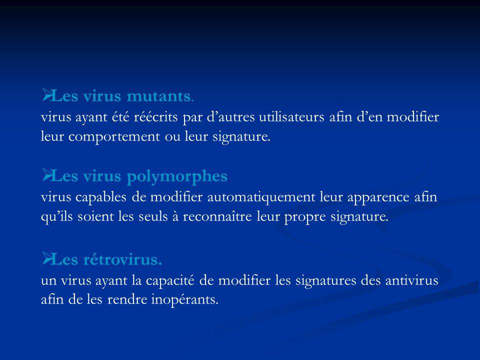 Les virus mutants. virus ayant été réécrits par dautres utilisateurs afin den modifier leur comportement ou leur signature. Les virus polymorphes viru