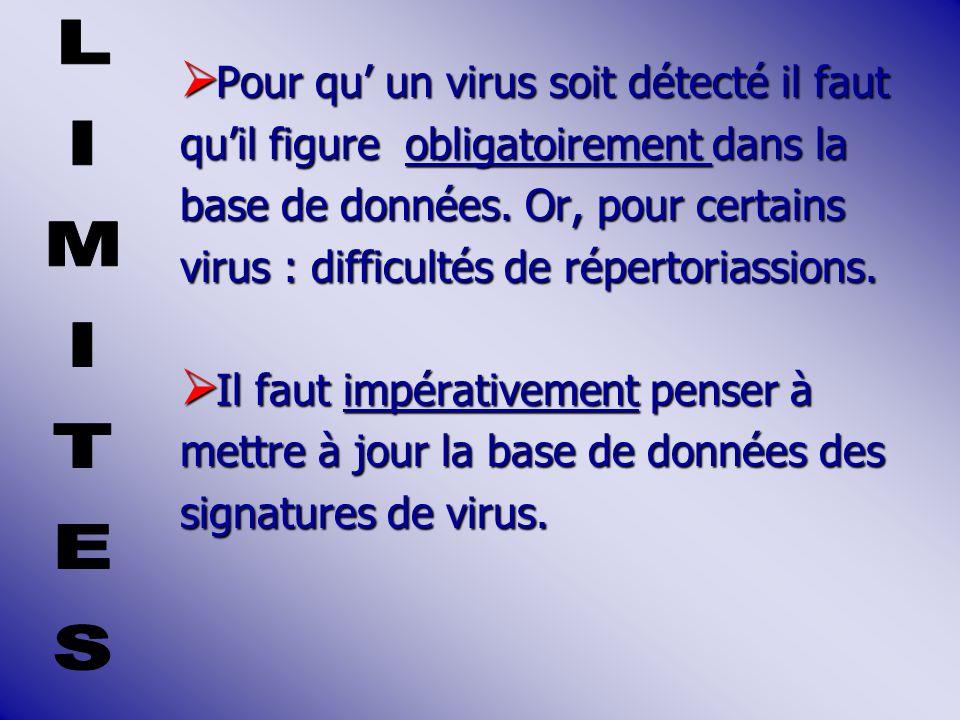 Pour qu un virus soit détecté il faut Pour qu un virus soit détecté il faut quil figure obligatoirement dans la base de données.