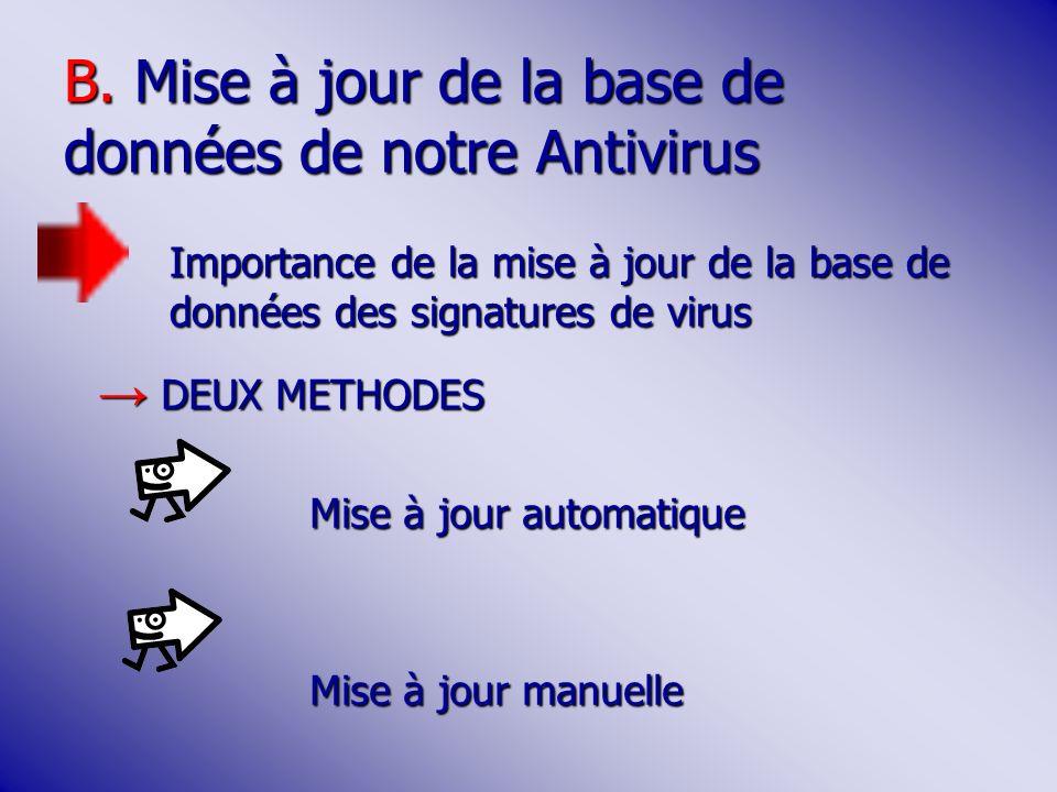 B. Mise à jour de la base de données de notre Antivirus Importance de la mise à jour de la base de données des signatures de virus DEUX METHODES DEUX