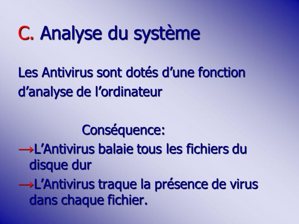 C. Analyse du système Les Antivirus sont dotés dune fonction danalyse de lordinateur Conséquence: Conséquence: LAntivirus balaie tous les fichiers du
